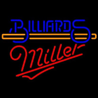 Miller Billiards With Stick Pool Neon Skilt
