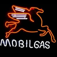 Mobil Gas & Oil Øl Bar Neon Skilt
