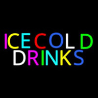 Multi Colored Ice Cold Drinks Neon Skilt