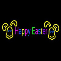 Multicolor Happy Easter Neon Skilt