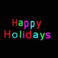 Multicolored Happy Holidays Neon Skilt
