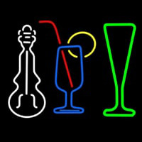 Music Instrument Glass And Bottle Neon Skilt