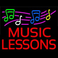 Music Lessons With Logo Neon Skilt