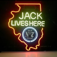 New Jack Daniels Lives Here Illinois Old #7 Whiskey Neon Øl Skilt