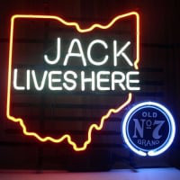New Jack Daniels Lives Here Ohio Old #7 Whiskey Real Neon Øl Bar Skilt