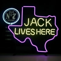 New Jack Daniels Lives Here Texas Old #7 Whiskey Real Neon Øl Bar Skilt