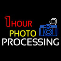 One Hour Photo Processing With Logo Neon Skilt