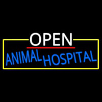 Open Animal Hospital With Yellow Border Neon Skilt