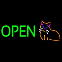Open Cat Logo Green Letters Neon Skilt