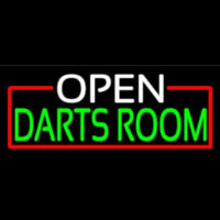 Open Darts Room With Red Border Neon Skilt