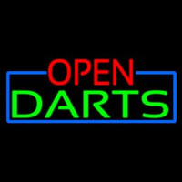 Open Darts With Blue Border Neon Skilt