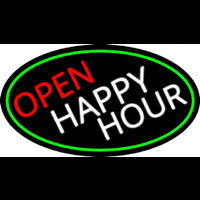 Open Happy Hour Oval With Green Border Neon Skilt