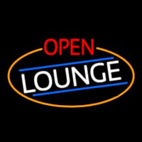 Open Lounge Oval With Orange Border Neon Skilt