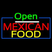 Open Me ican Food With Blue Border Neon Skilt
