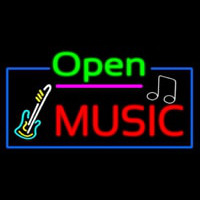 Open Music With Guitar Logo Neon Skilt