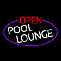 Open Pool Lounge Oval With Purple Border Neon Skilt
