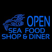 Open Seafood Shop And Diner Neon Skilt