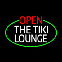 Open The Tiki Lounge Oval With Green Border Neon Skilt