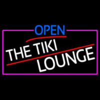 Open The Tiki Lounge With Pink Border Neon Skilt