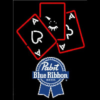 Pabst Blue Ribbon Ace And Poker Beer Sign Neon Skilt