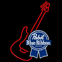 Pabst Blue Ribbon Red Guitar Beer Sign Neon Skilt