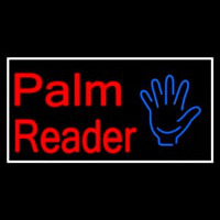 Palm Reader White Border Neon Skilt