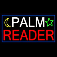 Palm Reader With Blue Border Neon Skilt