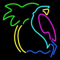 Parrot With Palm Tree Neon Skilt