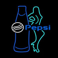 Pepsi Bar With Bottle And Girl Neon Skilt