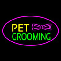Pet Grooming Logo Oval Purple Neon Skilt