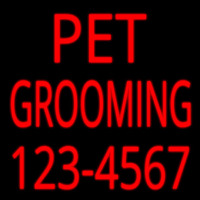 Pet Grooming With Phone Number Neon Skilt