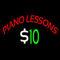 Piano Lessons Dollar Neon Skilt