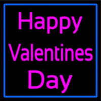Pink Cursive Happy Valentines Day With Blue Border Neon Skilt