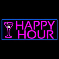 Pink Happy Hour And Wine Glass With Blue Border Neon Skilt