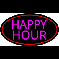 Pink Happy Hour Oval With Red Border Neon Skilt