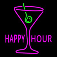 Pink Happy Hour With Wine Glass Neon Skilt
