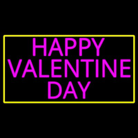 Pink Happy Valentines Day With Yellow Border Neon Skilt