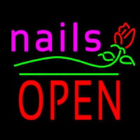 Pink Nails Block Open Green Line Flower Logo Neon Skilt