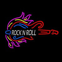 Pink Rock N Roll Guitar Block Neon Skilt