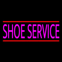 Pink Shoe Service With Line Neon Skilt
