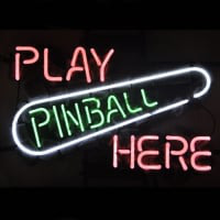 Play Pinball Here Game Room Øl Bar Neon Skilt