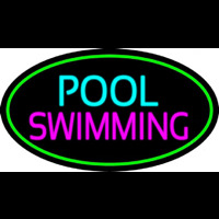 Pool Swimming With Green Border Neon Skilt