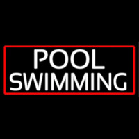 Pool Swimming With Red Border Neon Skilt