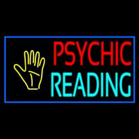 Psychic Reading Block Palm Blue Border Neon Skilt
