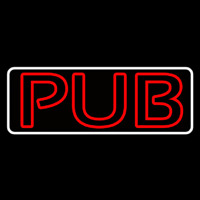 Pub Red With White Border Neon Skilt