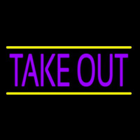 Purple Take Out Neon Skilt