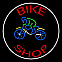 Red Bike Shop With Logo Neon Skilt