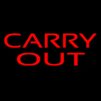 Red Carry Out Neon Skilt