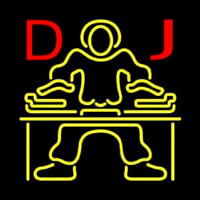 Red DJ Disc Jockey Music Neon Skilt