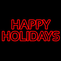 Red Double Stroke Happy Holidays Neon Skilt